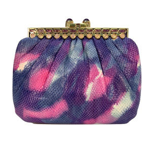 Judith Leiber Purple/Pink Tie Dye Bejeweled Clutch